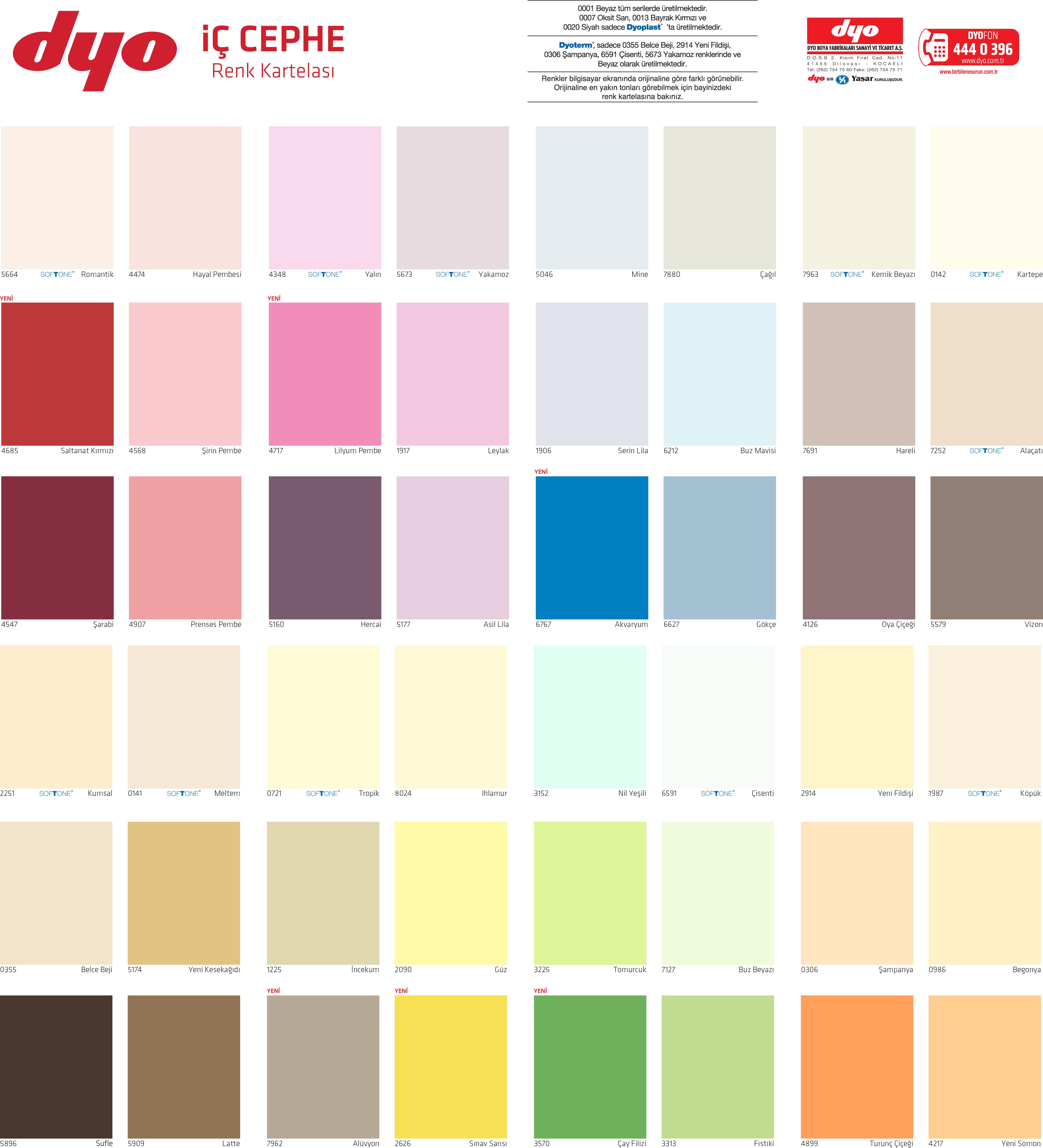 Dyo Renk Kataloğu 2018 Iç Cephe Renk Kartelası 4 Usta 1 Günde